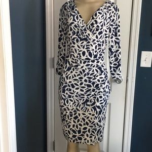 Lauren Ralph Lauren Navy & cream print dress sz 2